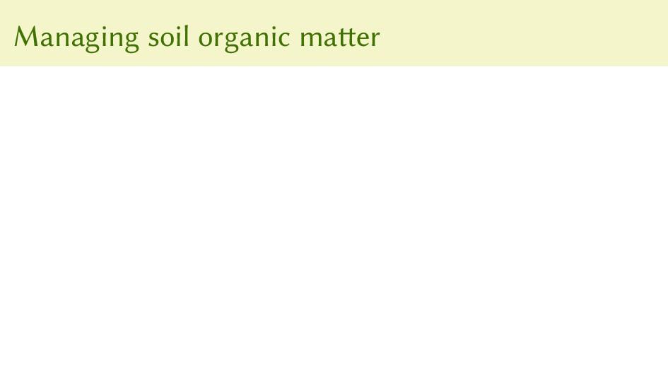 Managing soil organic matter