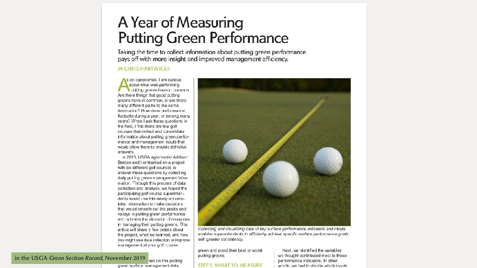 in the USGA Green Section Record, November 2019