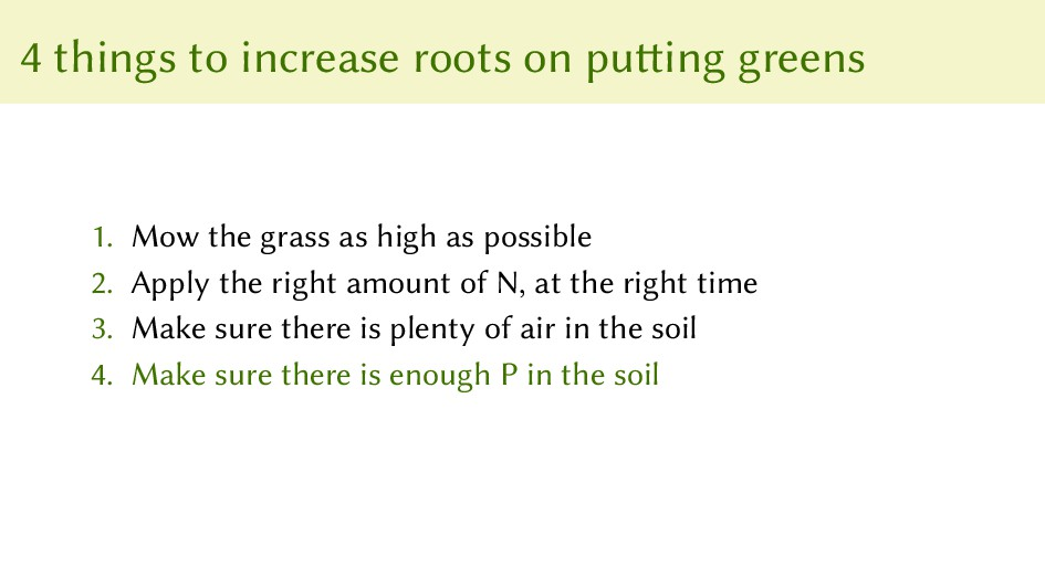 4 things to increase roots on putting greens 1....