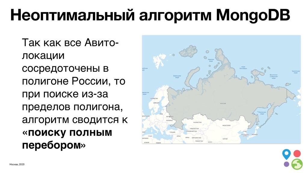 Москва, 2020 Неоптимальный алгоритм MongoDB Так...