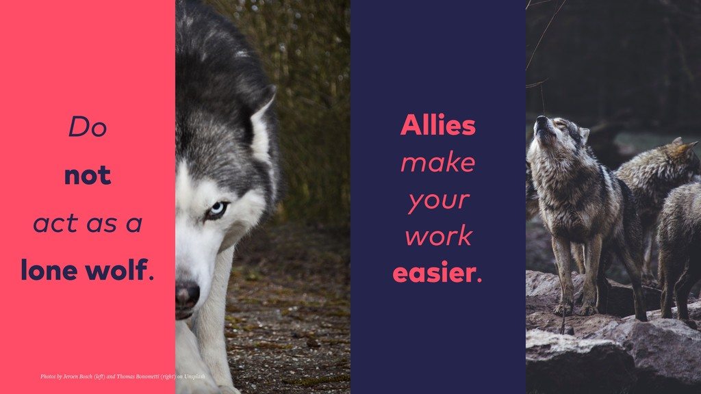 Do not act as a lone wolf. Allies make your wor...