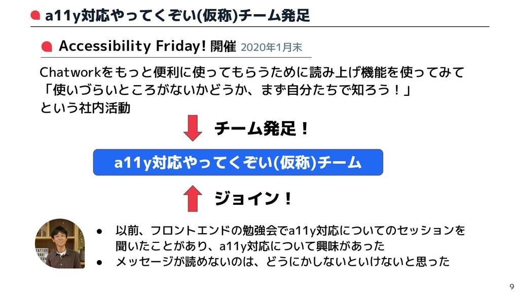 a11y対応やってくぞい(仮称)チーム発足 9   Accessibility Friday!...