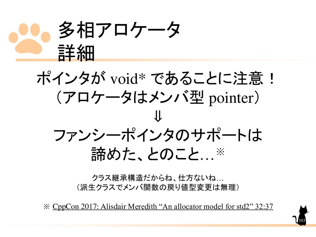 多相アロケータ 詳細 103 ポインタが void* であることに注意! (アロケータはメンバ...