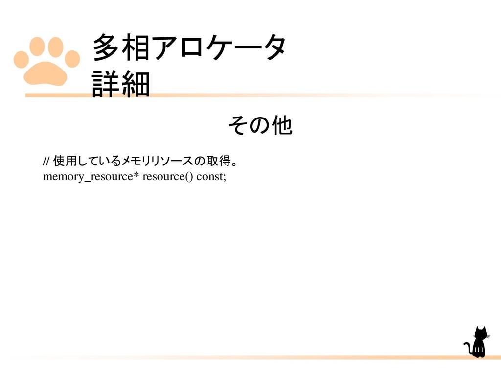 多相アロケータ 詳細 111 その他 // 使用しているメモリリソースの取得。 memory_...