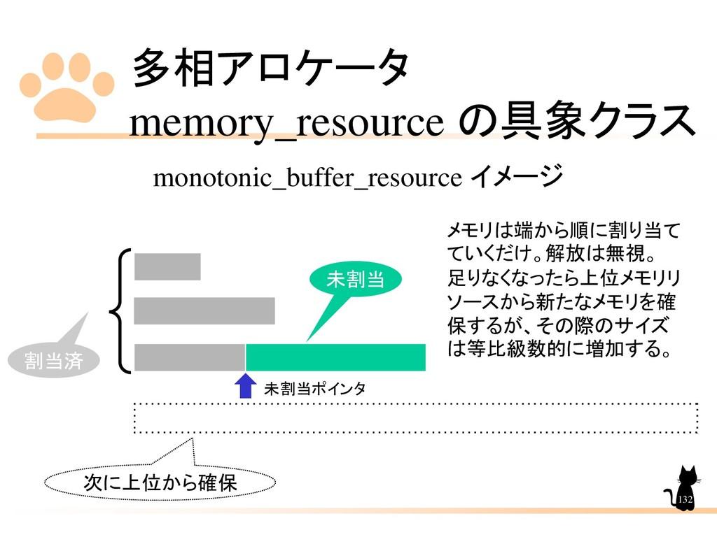多相アロケータ memory_resource の具象クラス 132 monotonic_bu...