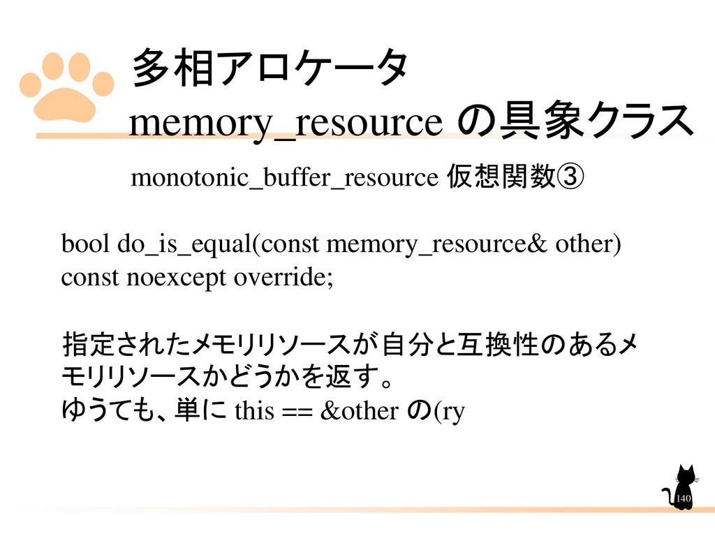 多相アロケータ memory_resource の具象クラス 140 monotonic_bu...