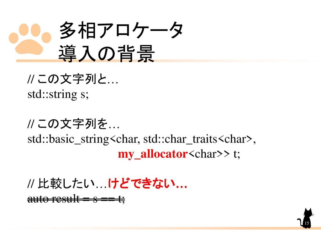 多相アロケータ 導入の背景 15 // この文字列と… std::string s; // こ...