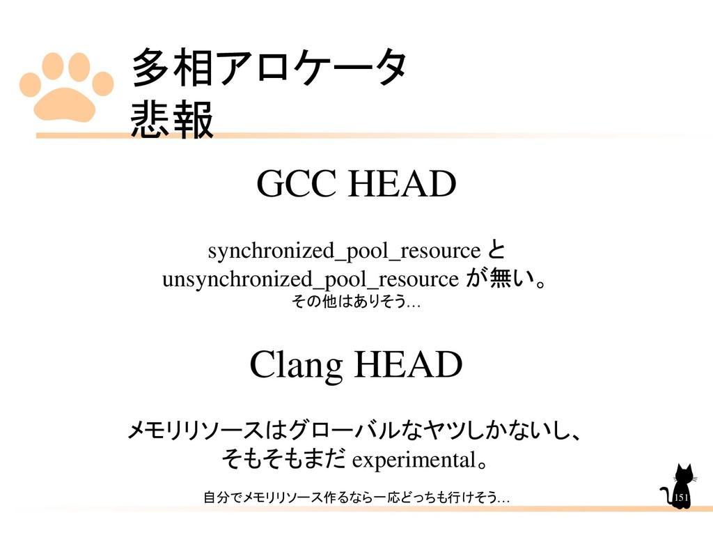 多相アロケータ 悲報 151 GCC HEAD synchronized_pool_resou...
