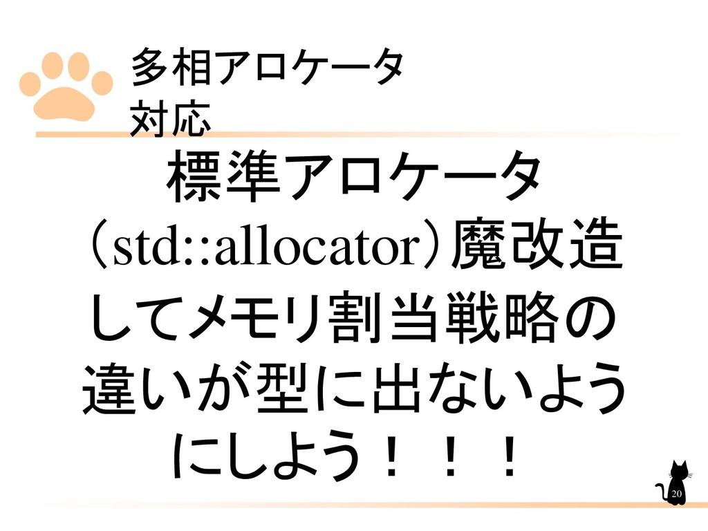 多相アロケータ 対応 20 標準アロケータ (std::allocator)魔改造 してメモリ...