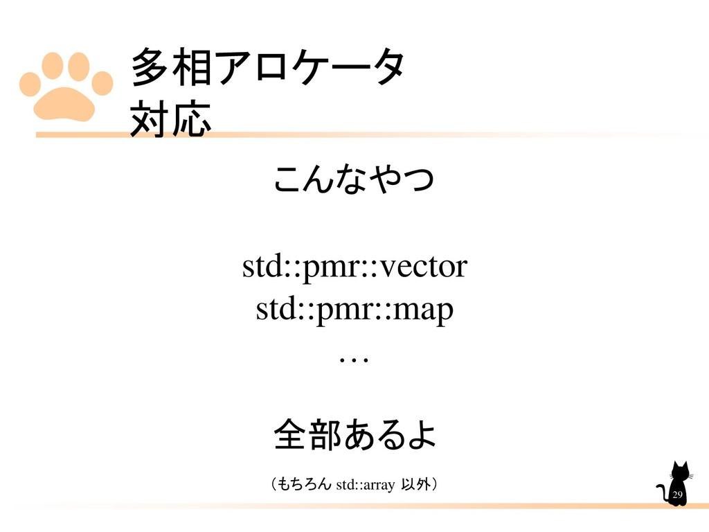 多相アロケータ 対応 29 こんなやつ std::pmr::vector std::pmr::...