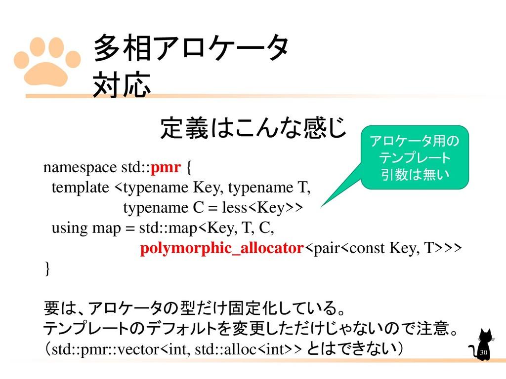 多相アロケータ 対応 30 定義はこんな感じ namespace std::pmr { tem...