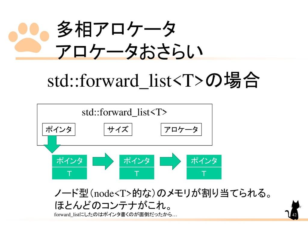 多相アロケータ アロケータおさらい 42 std::forward_list<T>の場合 ポイ...