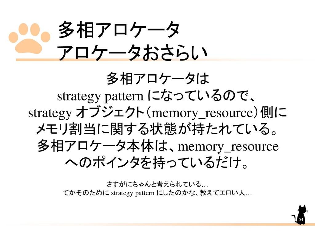多相アロケータ アロケータおさらい 54 多相アロケータは strategy pattern ...