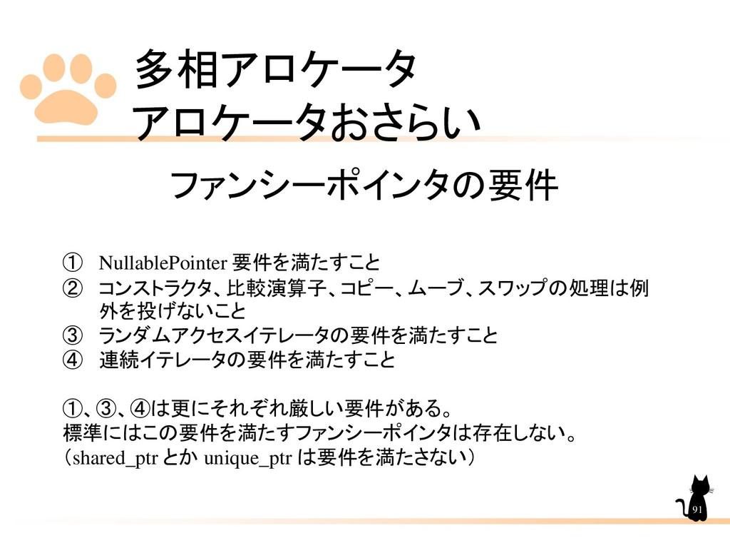 多相アロケータ アロケータおさらい 91 ファンシーポインタの要件 ① NullablePoi...