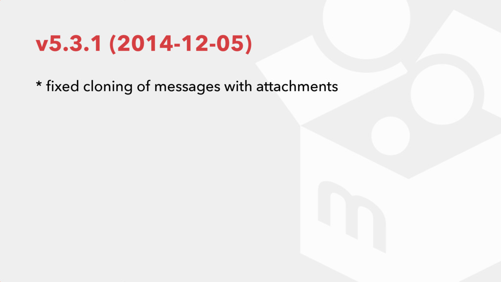 v5.3.1 (2014-12-05) * fixed cloning of messages ...