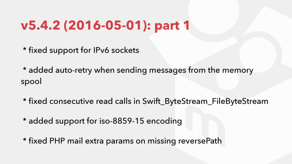 v5.4.2 (2016-05-01): part 1 * fixed support for ...