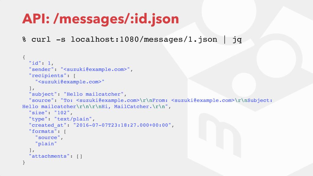 "API: /messages/:id.json { ""id"": 1, ""sender"": ""<..."