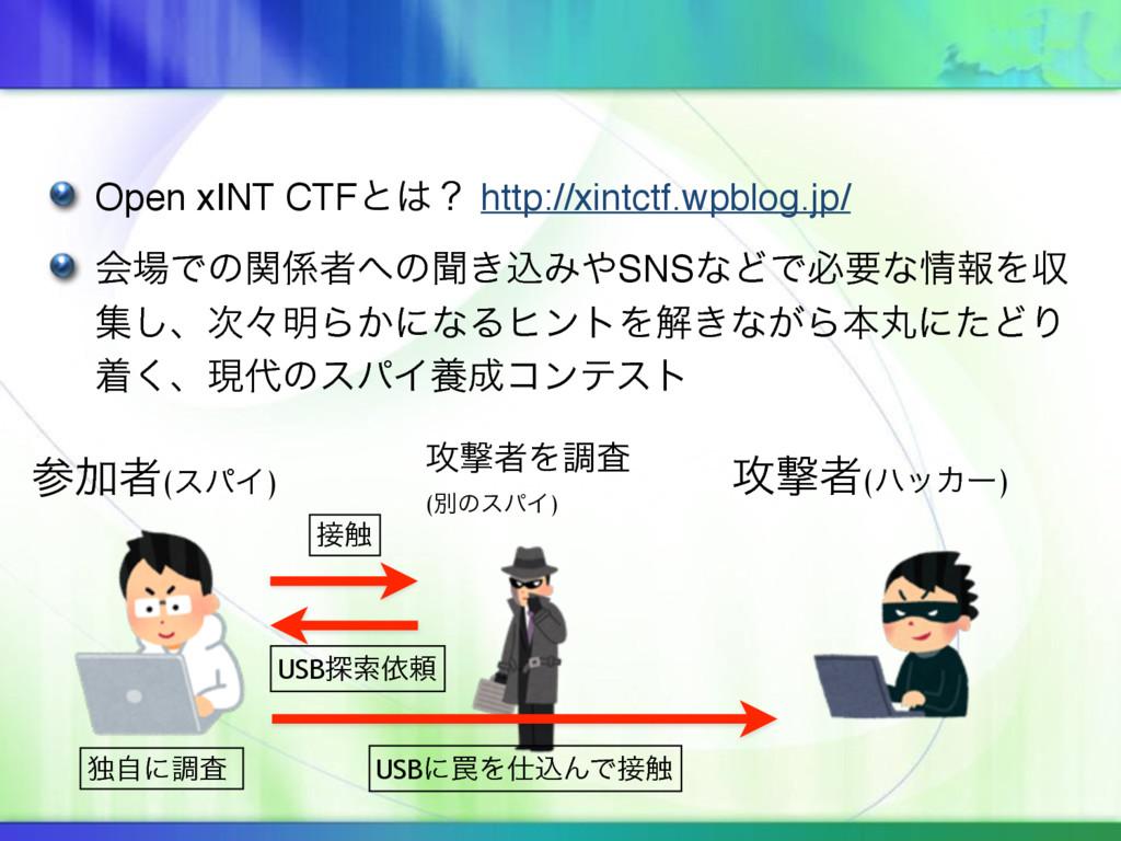 Open xINT CTFͱʁ http://xintctf.wpblog.jp/ ձͰͷ...