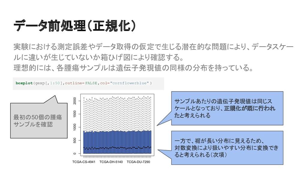 実験における測定誤差やデータ取得の仮定で生じる潜在的な問題により、データスケー ルに違いが生じ...