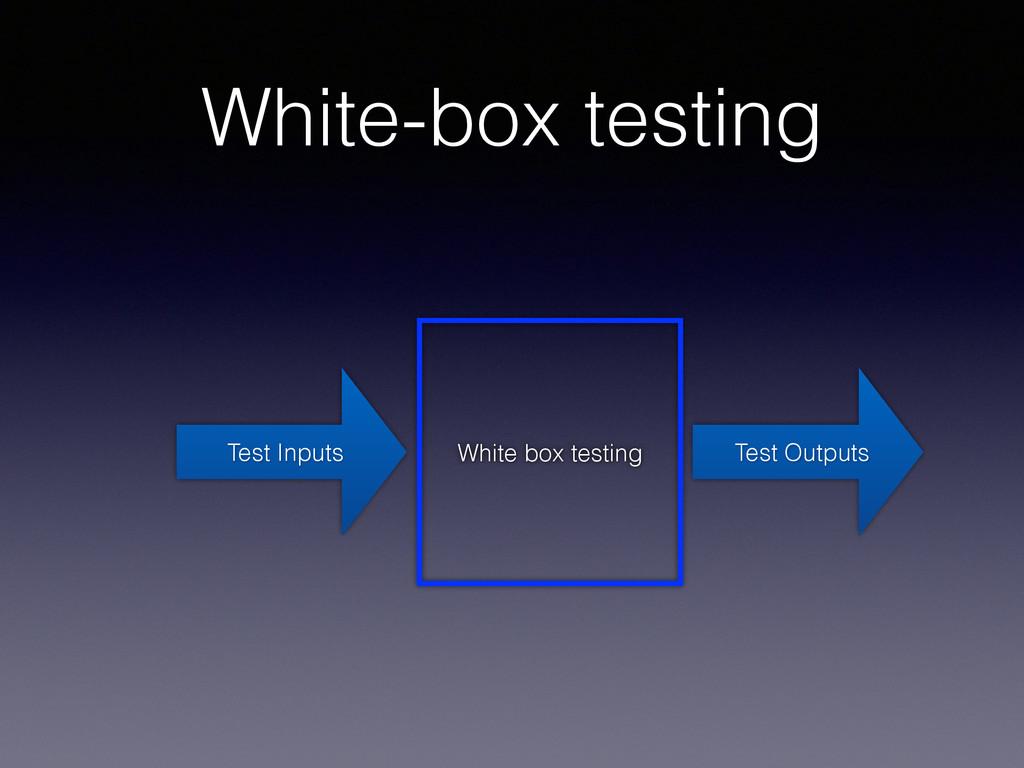 White-box testing Test Inputs White box testing...