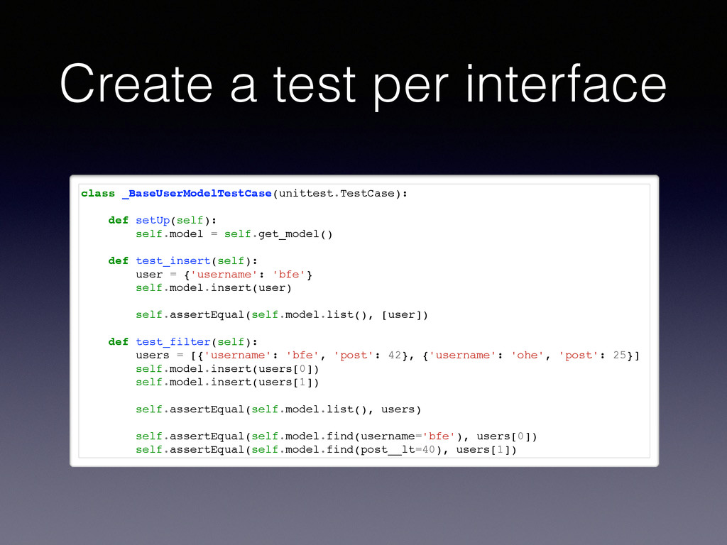 Create a test per interface class _BaseUserMode...