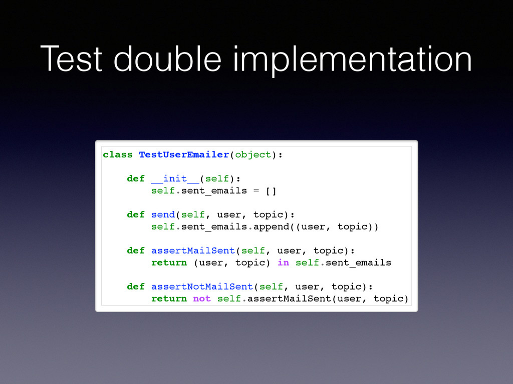 Test double implementation class TestUserEmaile...