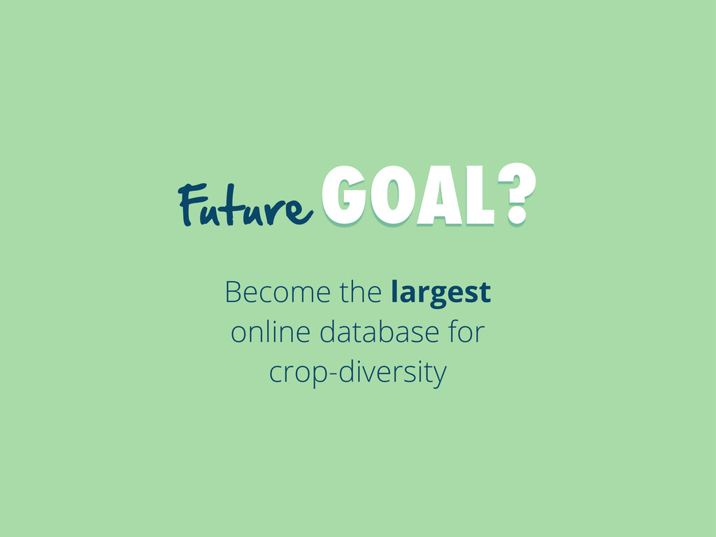 F uture  GOAL? Become the largest online datab...