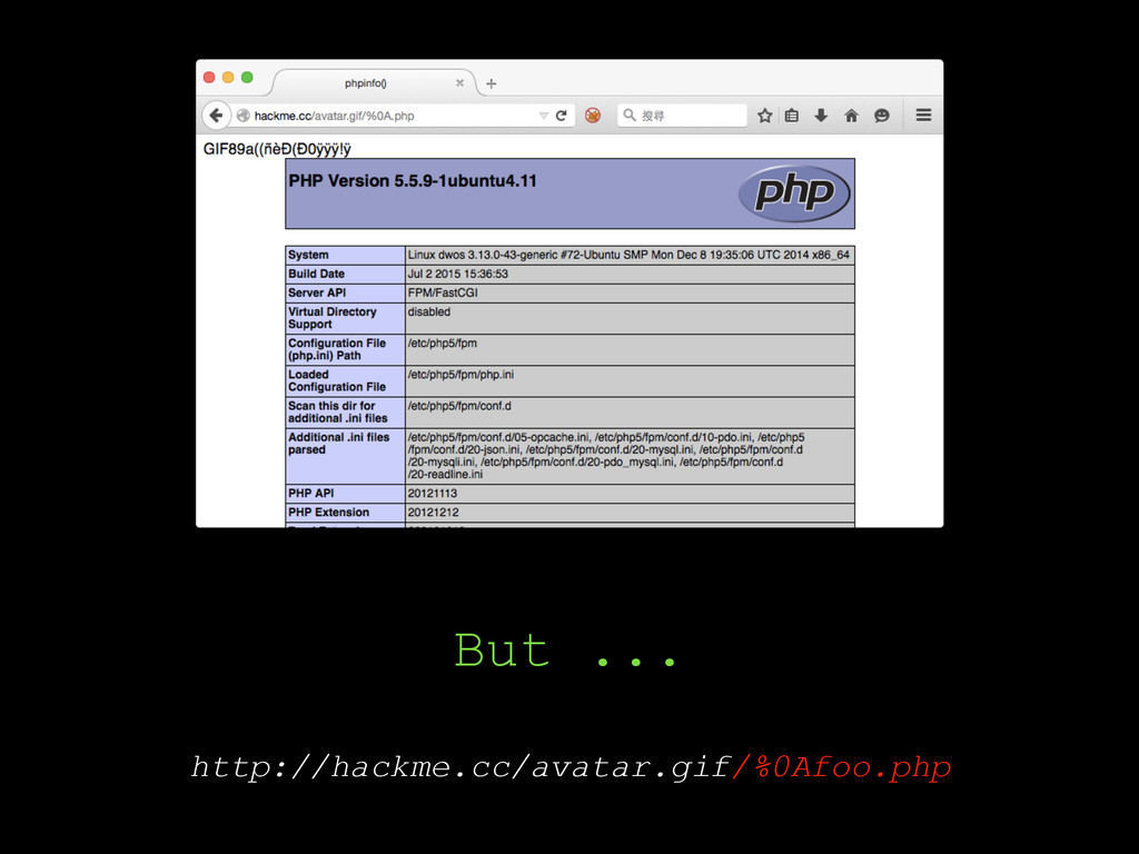 But ... http://hackme.cc/avatar.gif/%0Afoo.php
