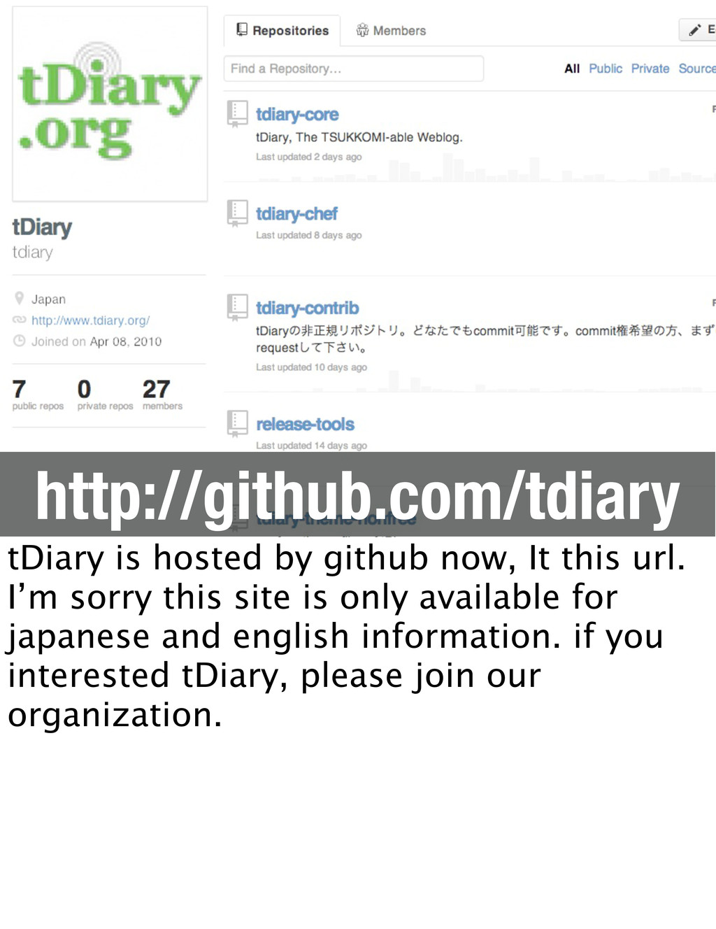 http://github.com/tdiary tDiary is hosted by gi...