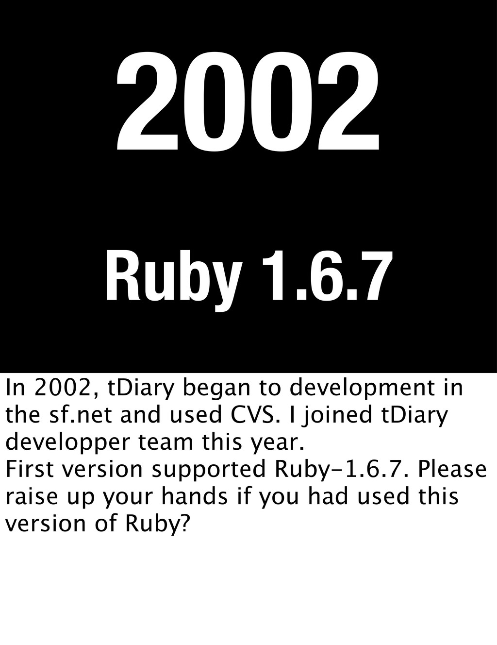 Ruby 1.6.7 2002 In 2002, tDiary began to develo...
