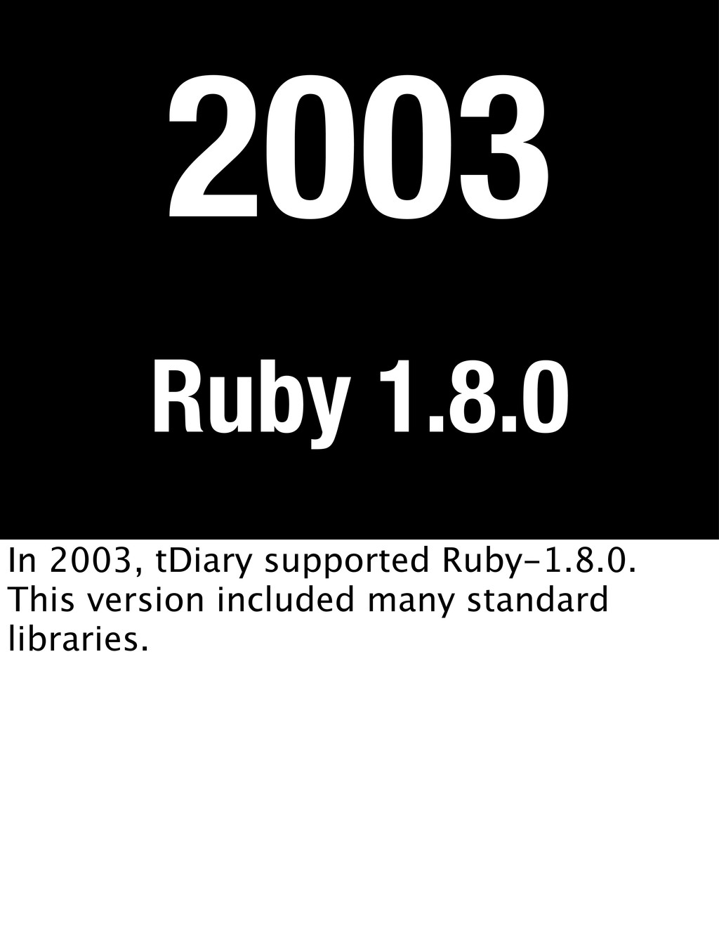 Ruby 1.8.0 2003 In 2003, tDiary supported Ruby-...