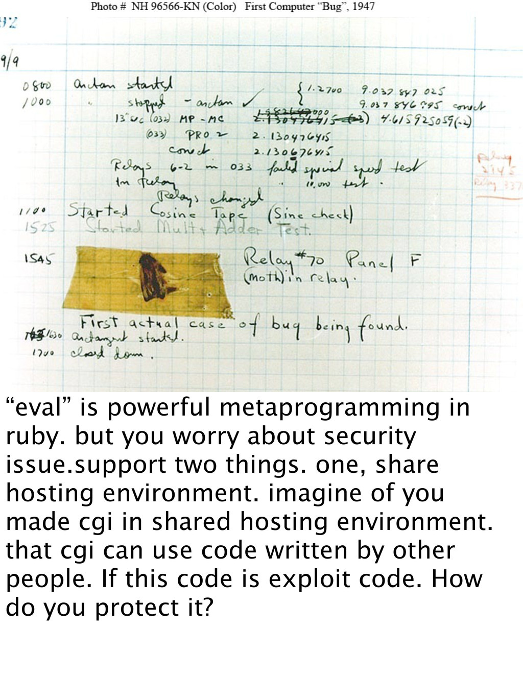 """eval"" is powerful metaprogramming in ruby. but..."