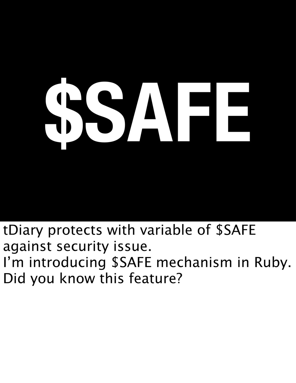 $SAFE tDiary protects with variable of $SAFE ag...
