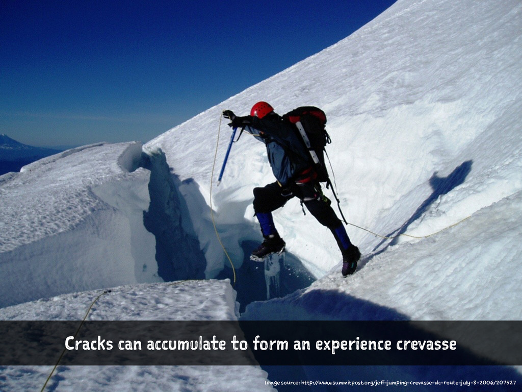 Cracks can accumulate to form an experience cre...