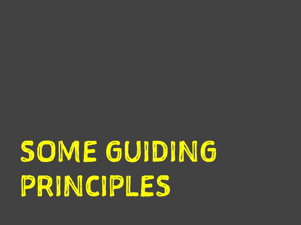 SOME GUIDING PRINCIPLES