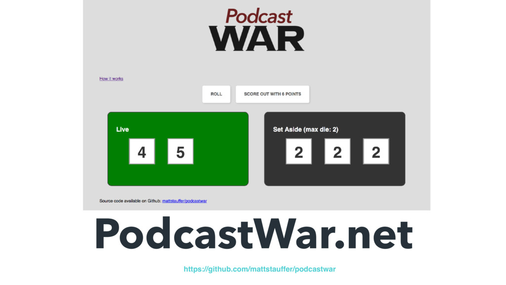 PodcastWar.net https://github.com/mattstauffer/...