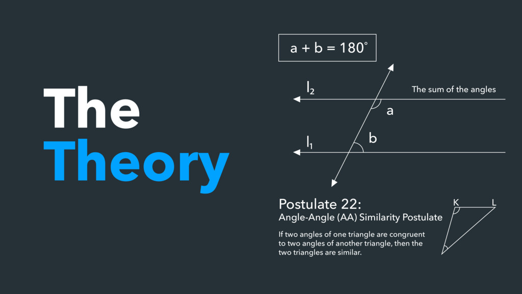 The Theory a + b = 180˚ Postulate 22: Angle-Ang...