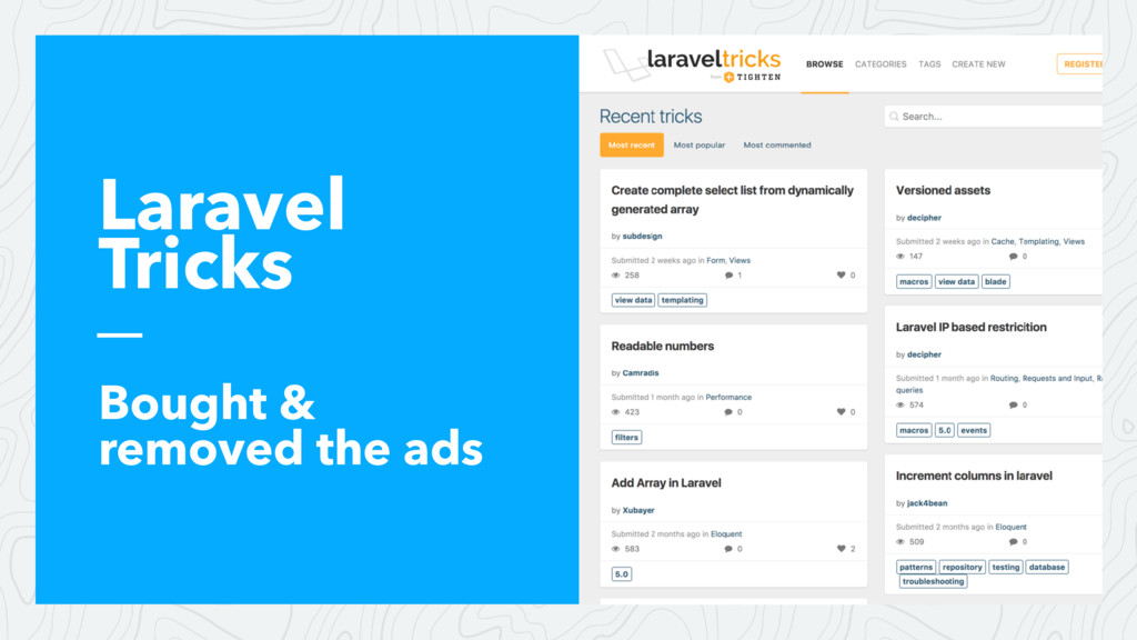 Laravel Tricks Bought & removed the ads