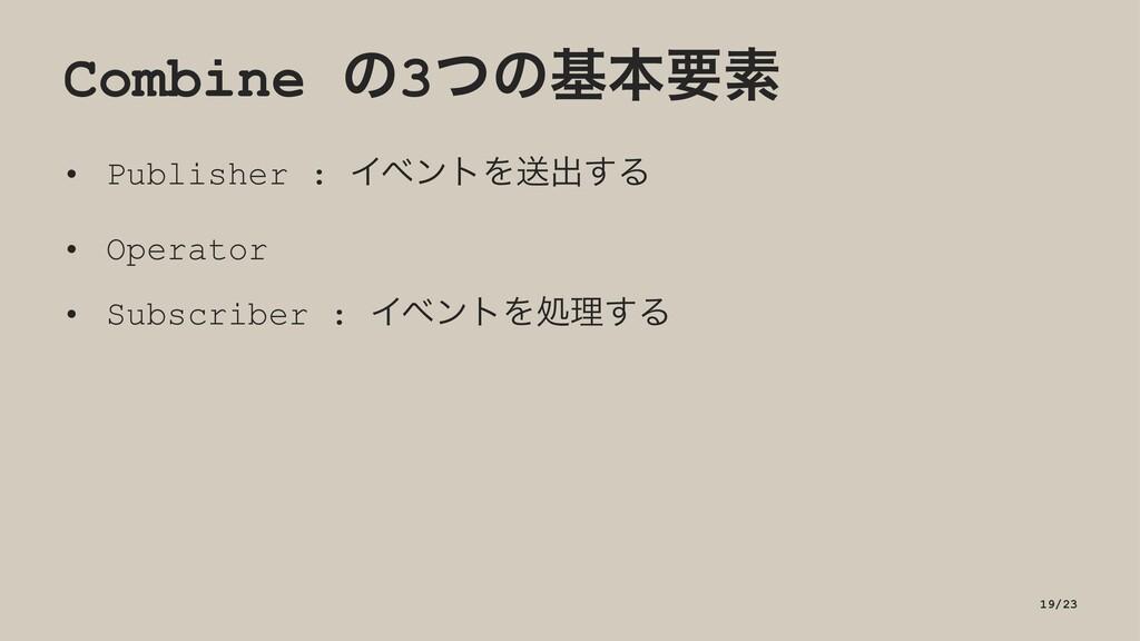 Combine ͷ3ͭͷجຊཁૉ • Publisher : ΠϕϯτΛૹग़͢Δ • Oper...