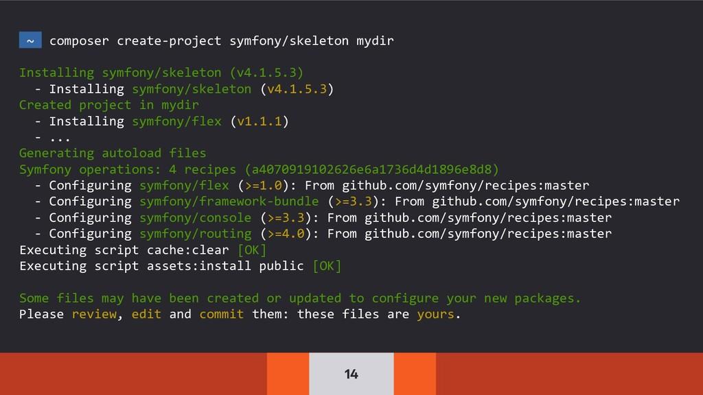 14 ~ composer create-project symfony/skeleton m...