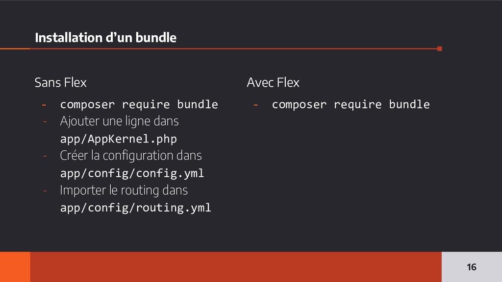 Sans Flex - composer require bundle - Ajouter u...
