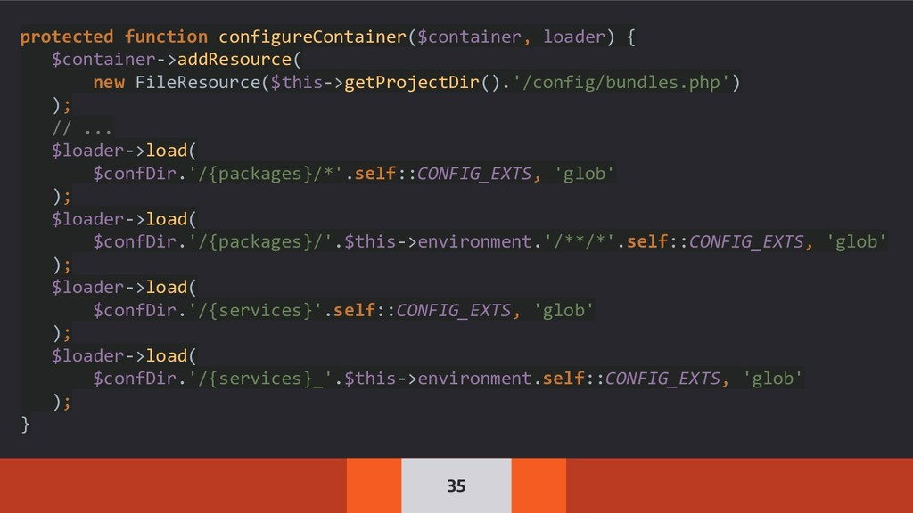 35 protected function configureContainer($conta...