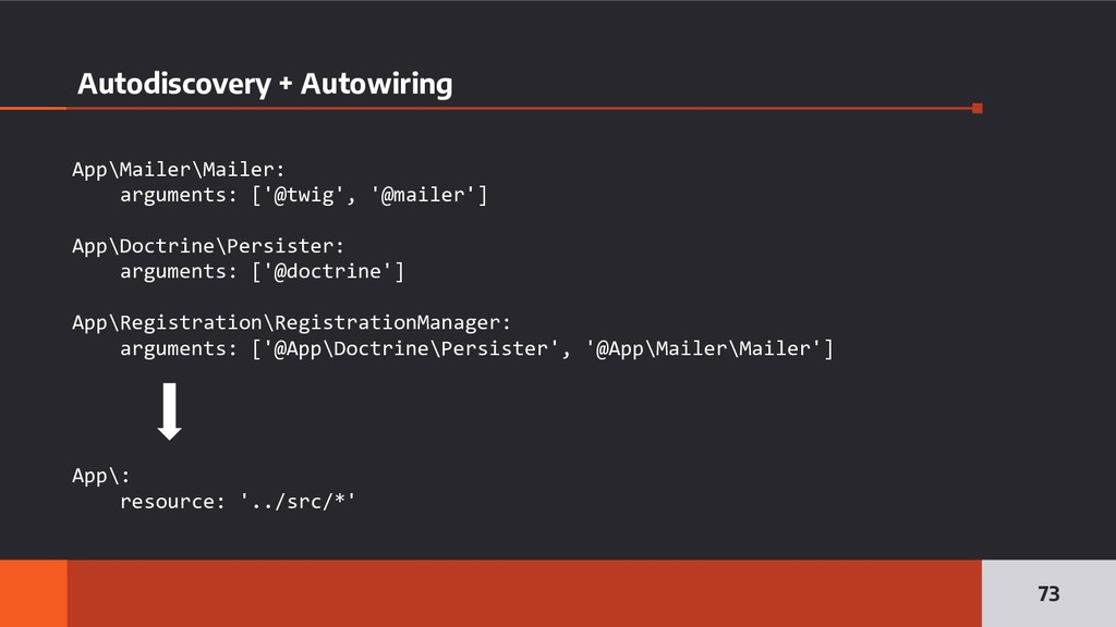 Autodiscovery + Autowiring 73 App\Mailer\Mailer...