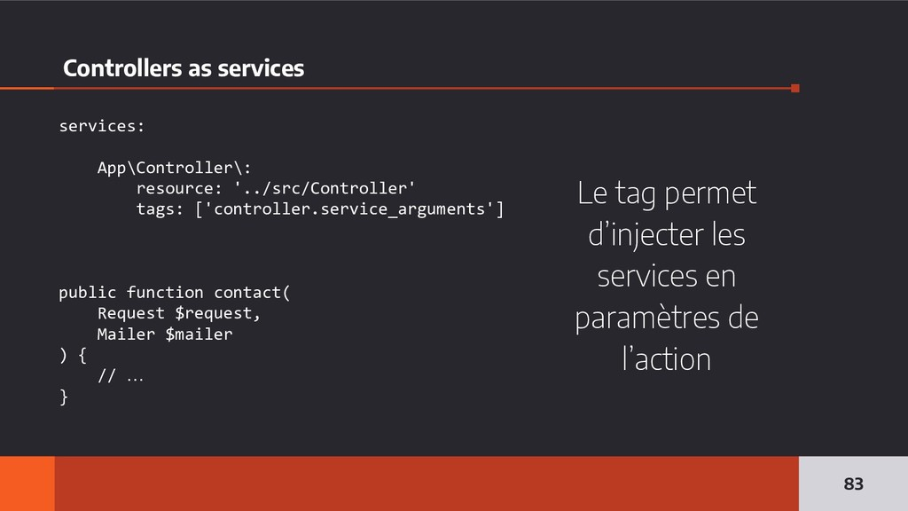 Controllers as services 83 services: App\Contro...