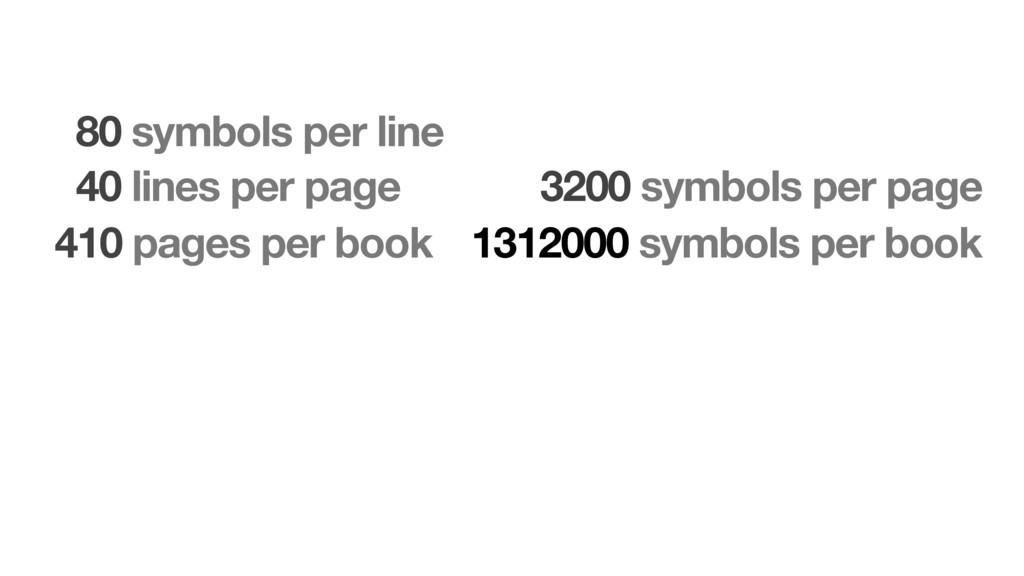 80 symbols per line 40 lines per page 410 pages...