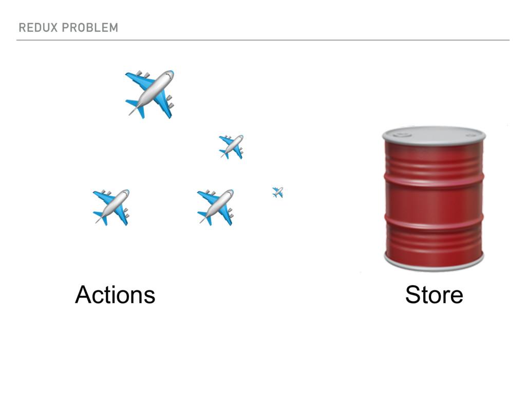 REDUX PROBLEM  Store ✈ ✈ ✈ ✈ ✈ Actions