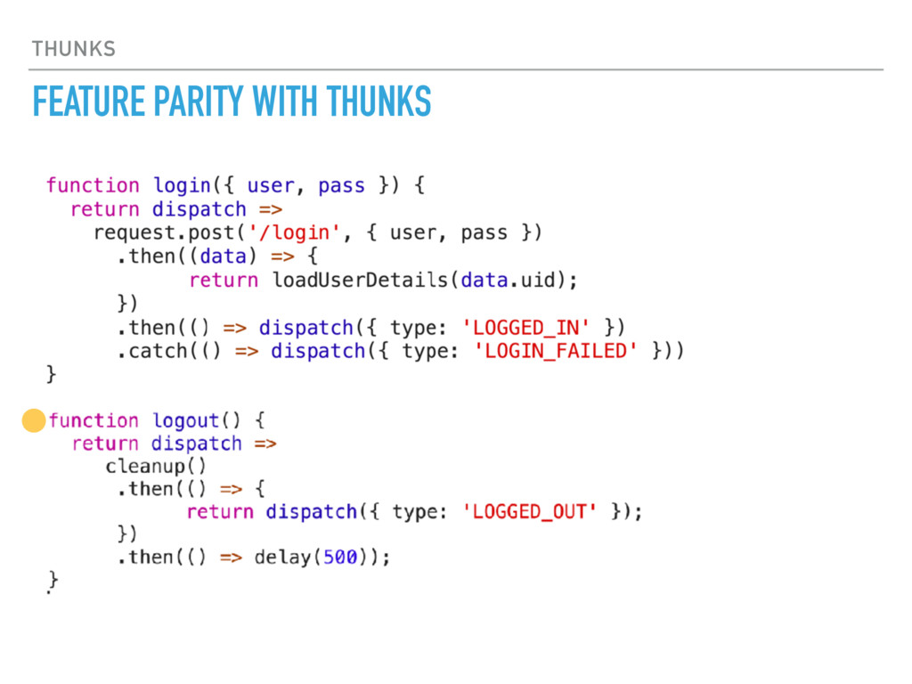 THUNKS FEATURE PARITY WITH THUNKS