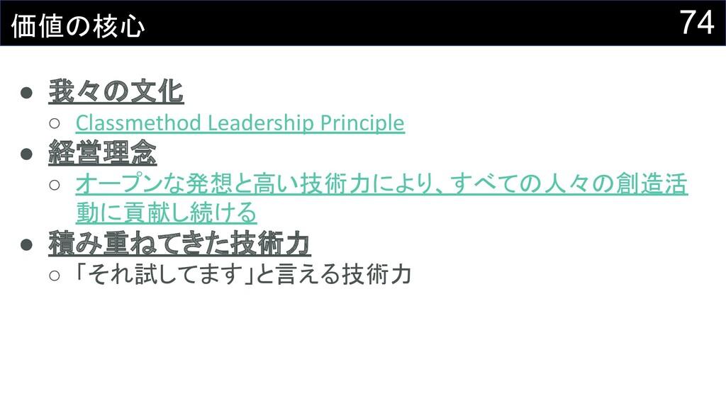 74 価値の核心 ● 我々の文化 ○ Classmethod Leadership Princ...