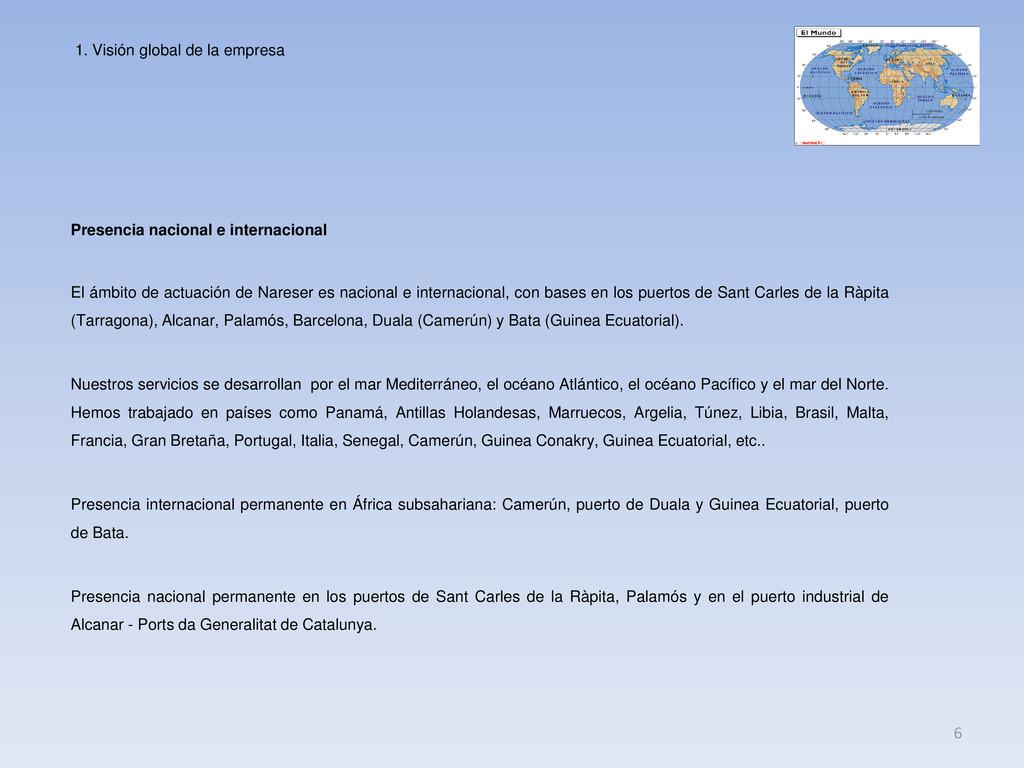 Presencia nacional e internacional 6 El ámbito ...