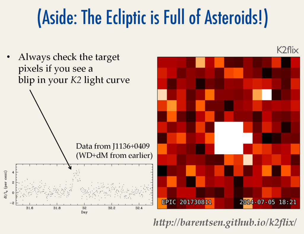 (Aside: The Ecliptic is Full of Asteroids!) •  ...